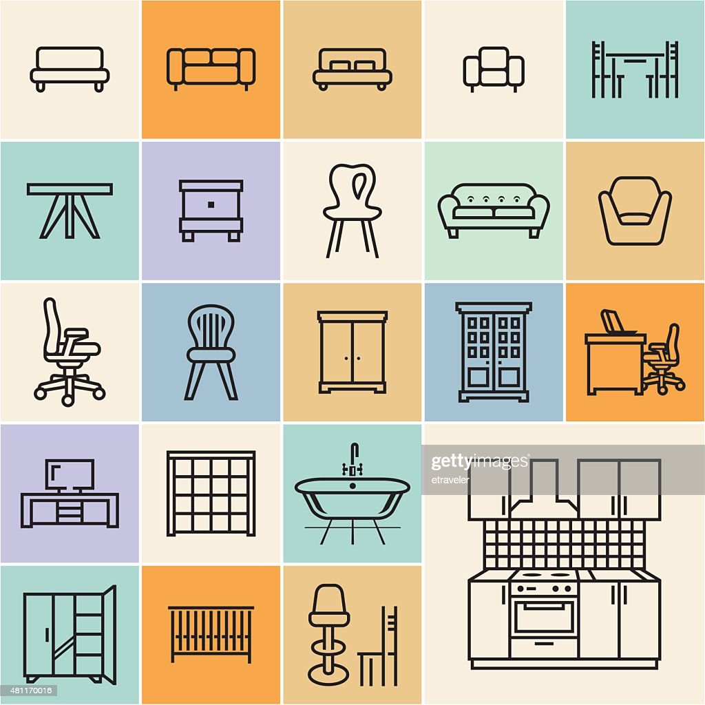 Flat furniture outline icons set.