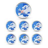 Flat Globe set with EU countries