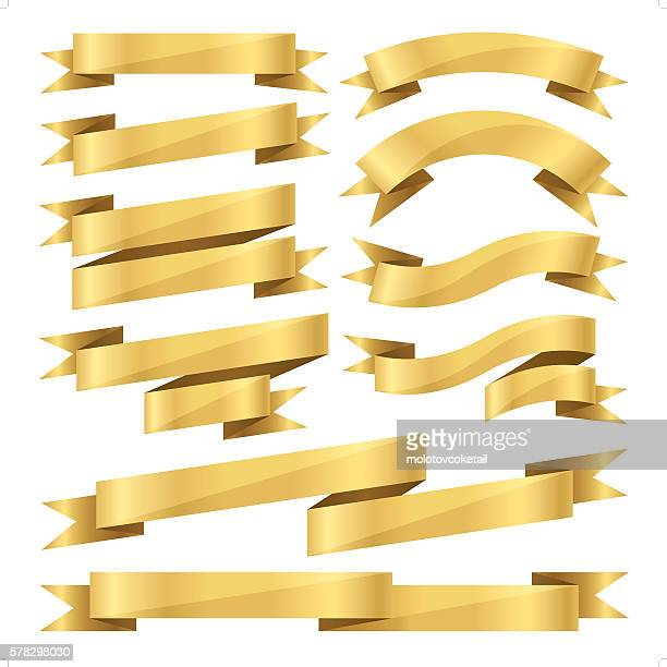 flat gold ribbon set