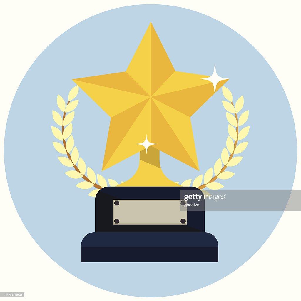 Flat Gold Star Award