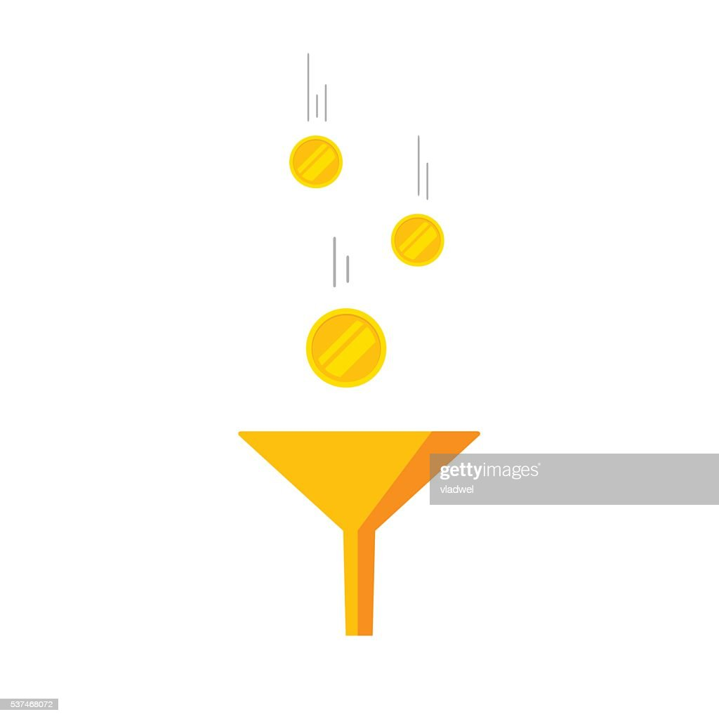 Flat golden funnel icon vector with falling coins money