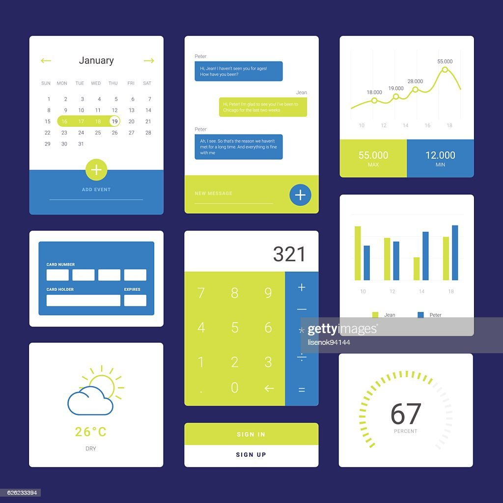 Flat graph and chart vector set