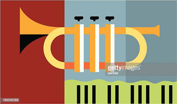 flat graphic image of a trumpet - jazz stock illustrations, clip art, cartoons, & icons