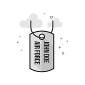 Flat Grayscale Icon - Dog tags