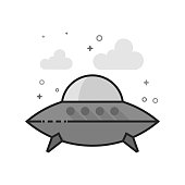 Flat Grayscale Icon - Flying saucer