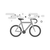 Flat Grayscale Icon - Road bicycle