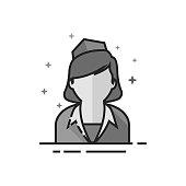 Flat Grayscale Icon - Stewardess avatar