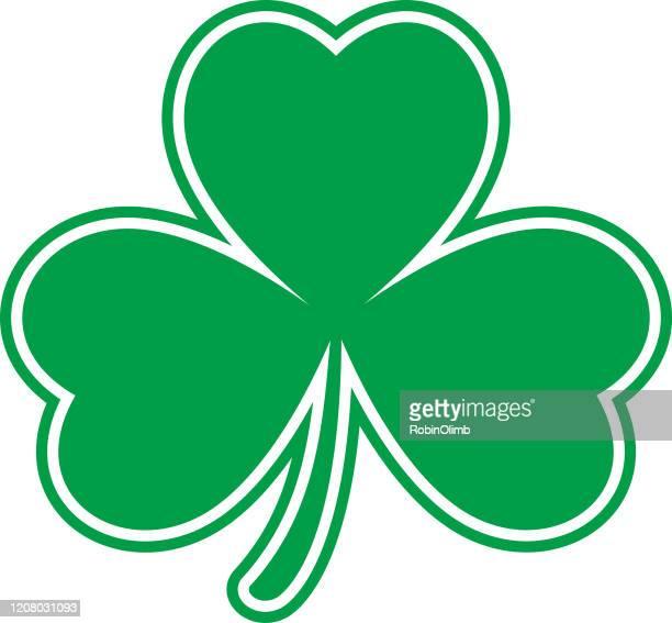 flat green cloverleaf icon - four leaf clover stock illustrations