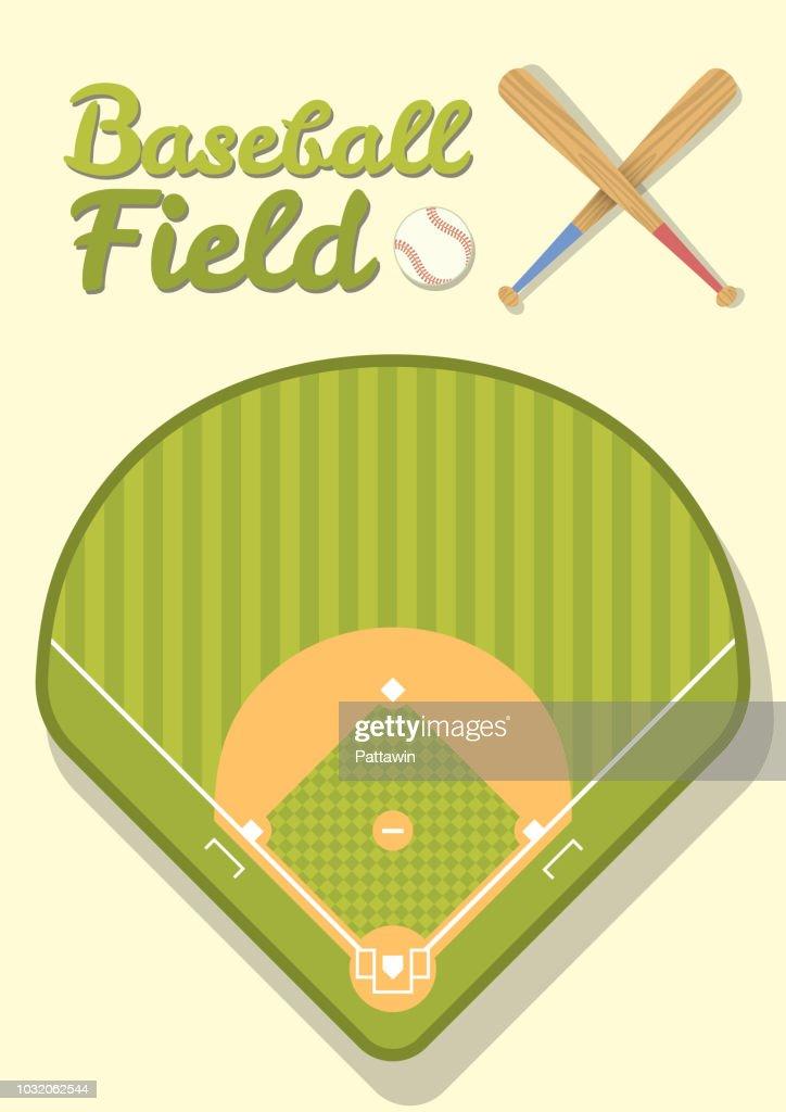 Flat green grass Baseball field from top view.  stadium with baseball ball, bat and text. Sport concept design. Vector illustration.