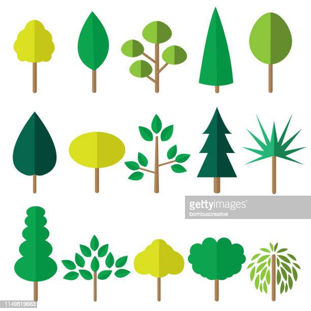 flat green tree icons - tree stock illustrations