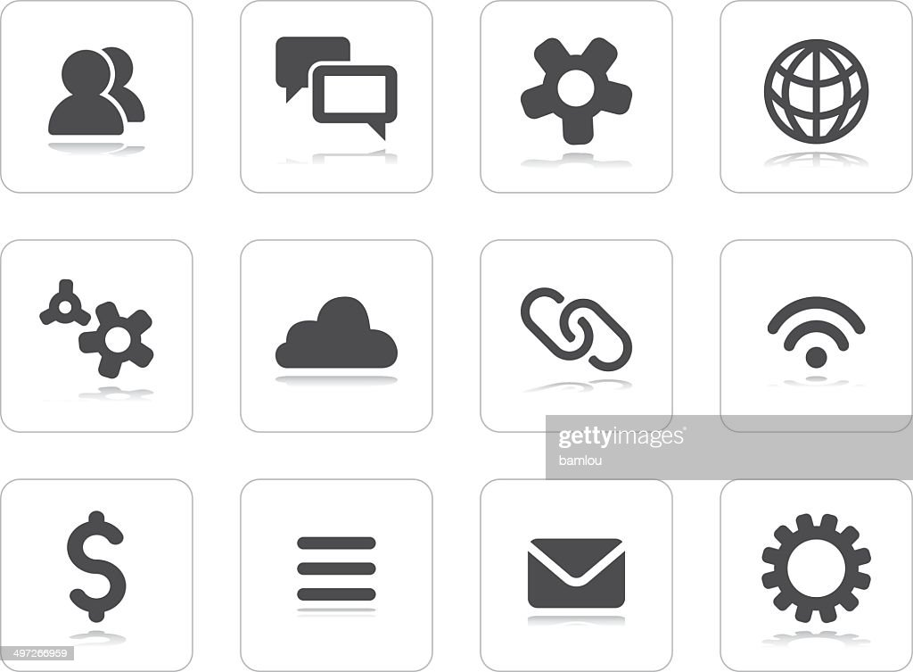 Flat grey icons : stock illustration