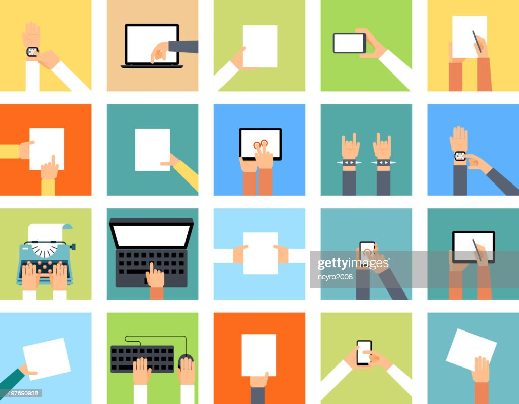 Flat hand icons holding various devices and hands are doing