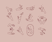 Flat hand symbols pink brown