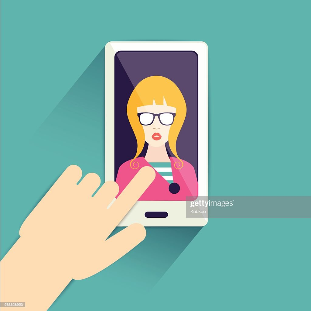 Flat hand touching a mobile phone. Selfie photo.