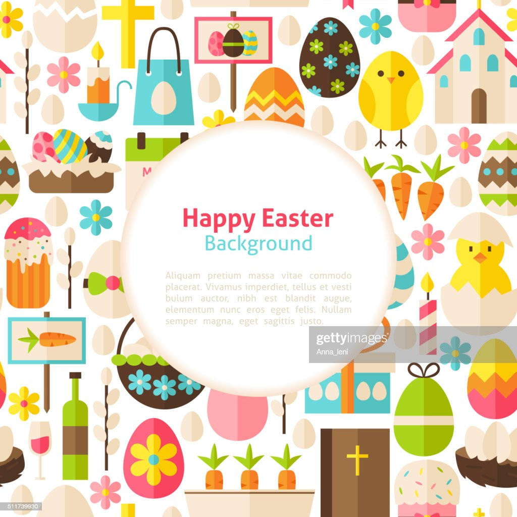 Flat Happy Easter Vector Background
