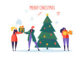Flat Happy People with Gifts and Christmas Tree. Merry Xmas Holiday Party. Characters Celebrating New Year Eve. Vector illustration