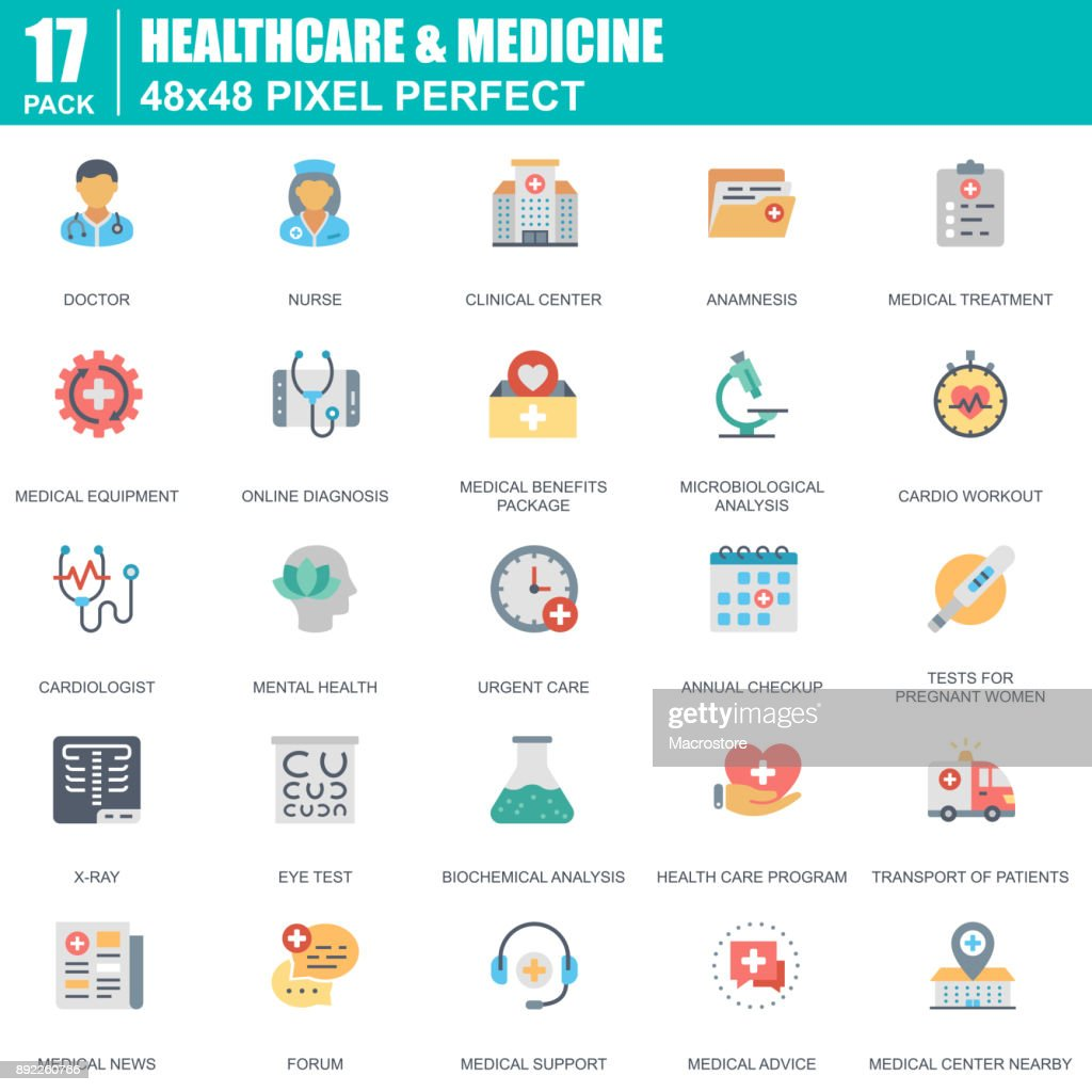 Flat healthcare and medicine, hospital services icons set for website