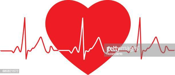 flat heartbeat monitor icon - listening to heartbeat stock illustrations, clip art, cartoons, & icons