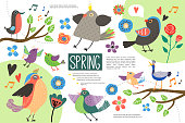 Flat Hello Spring Infographic Concept