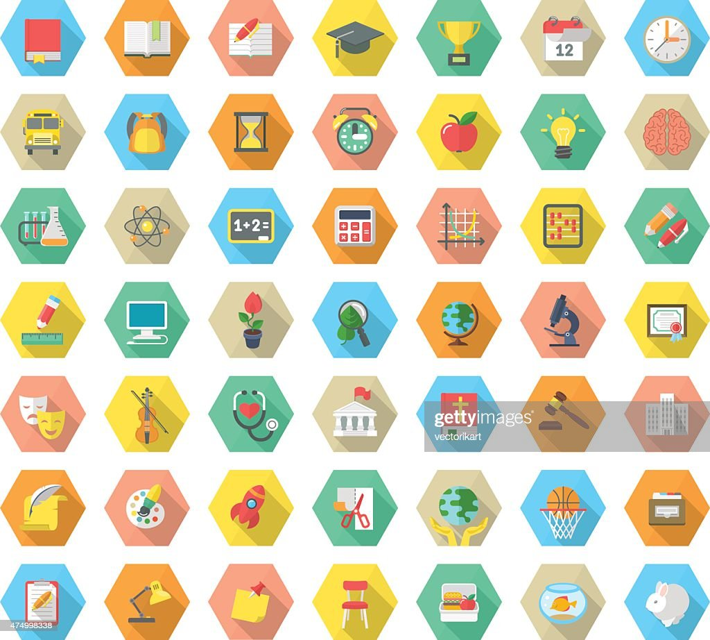 Flat Hexagonal School Subjects Icons with Long Shadows
