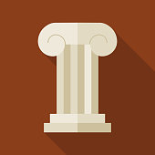 Flat History Ancient Ionic Pillar Illustration with long Shadow