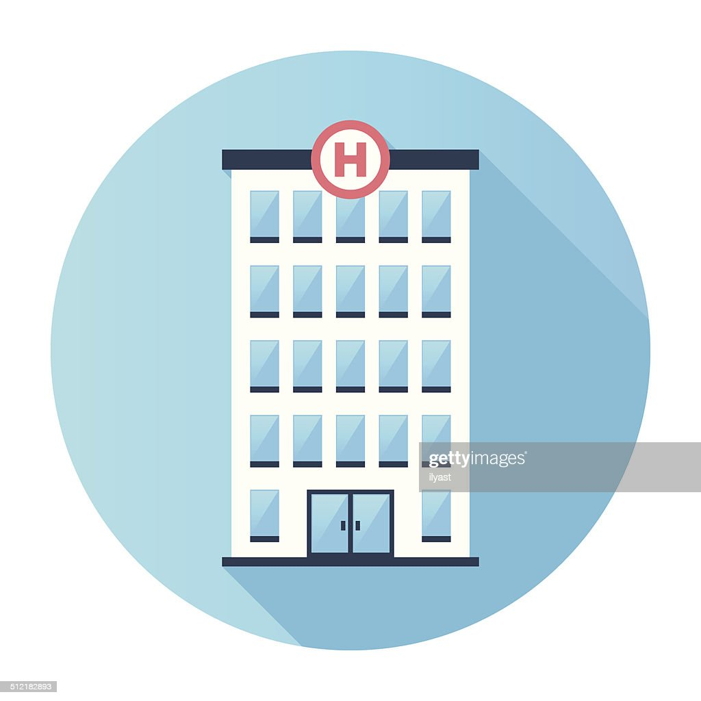 Flat Hospital Building Icon : Stock Illustration