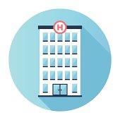 Flat Hospital Building Icon