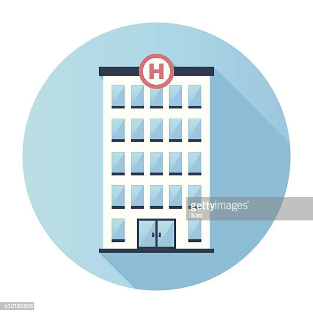 Flat Hospital Building Icon