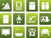Flat Hotel and motel room facilities icons
