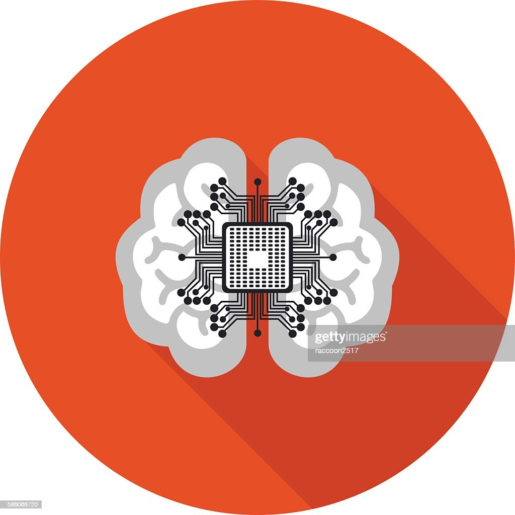 flat icon brain with a microchip