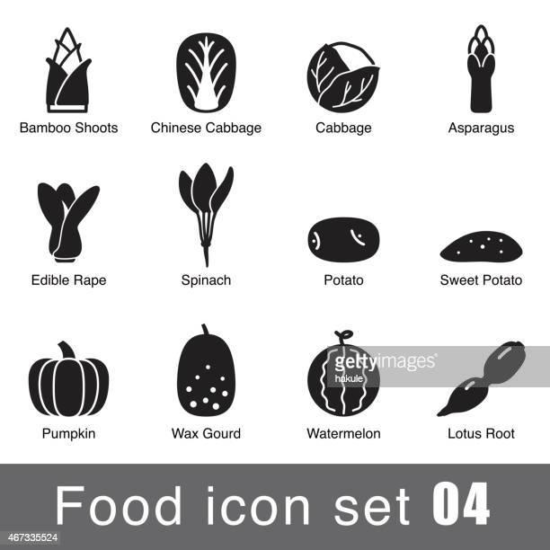 Supermercado conjunto de iconos de diseño plano de alimentos