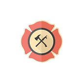 Flat icon - Firefighter emblem