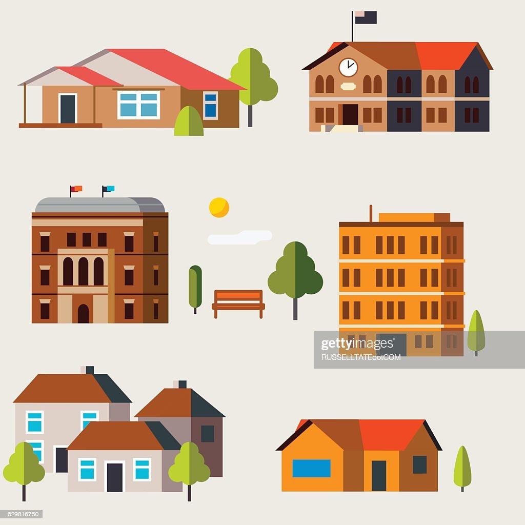 Flat Icon houses : stock illustration