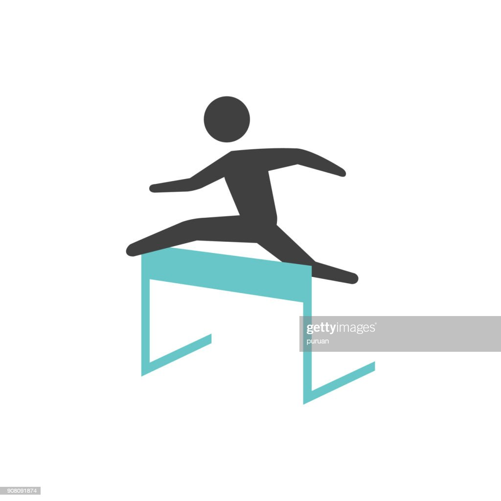 Flat icon - Hurdle run