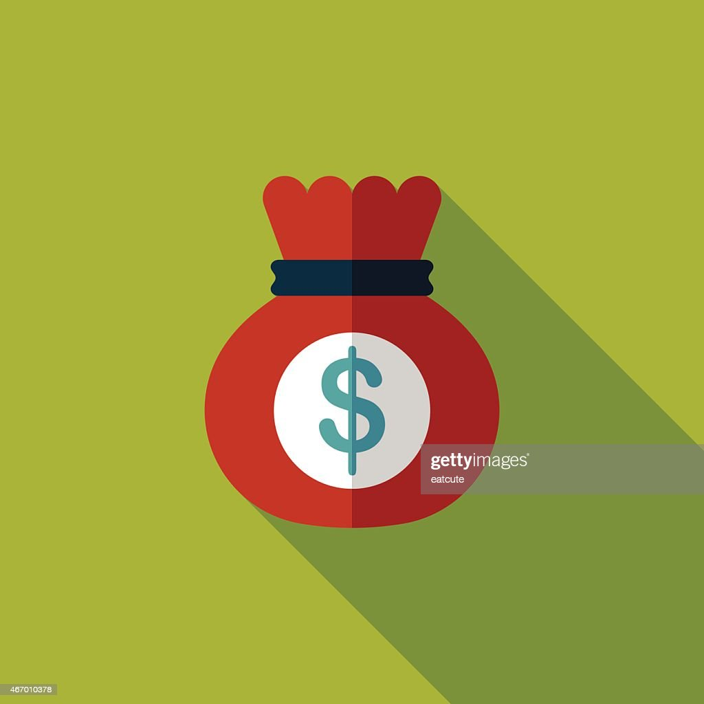 Flat icon illustration of red money bag with long shadow