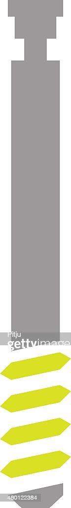 Flat Icon of Bone Screw on White Background