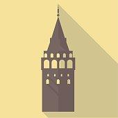flat icon of galata tower - istanbul - turkey