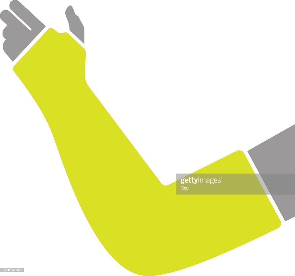 Flat Icon of Hand with Gypsum Bandage