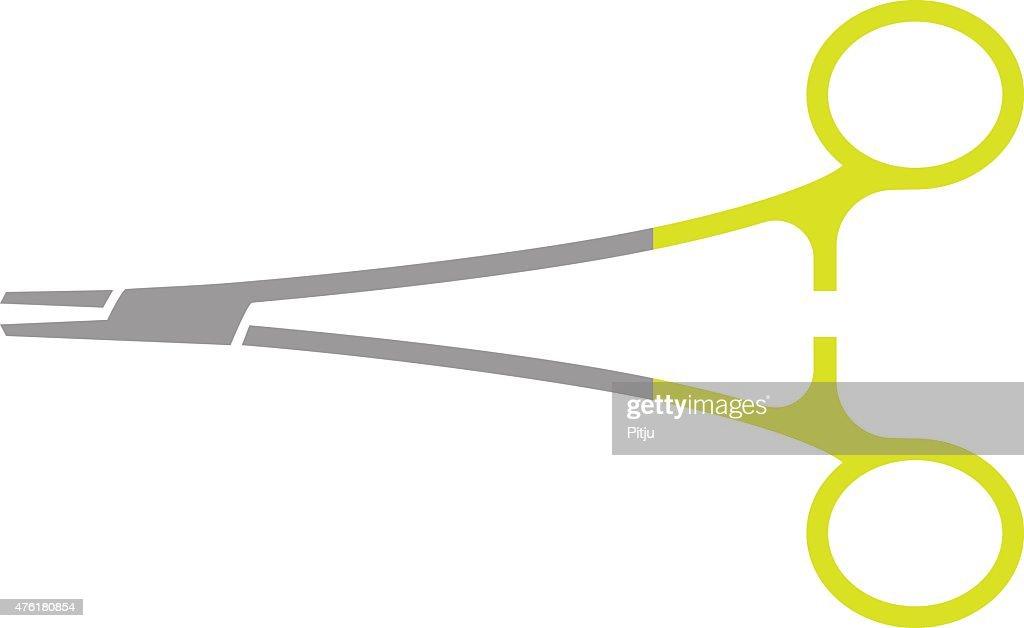 Flat Icon of Orthopedic Needle Holder Isolated on White Background