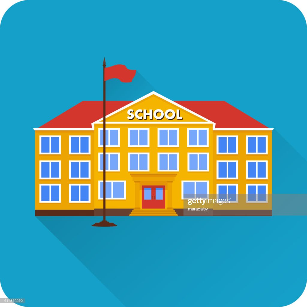 Flat icon of school building.