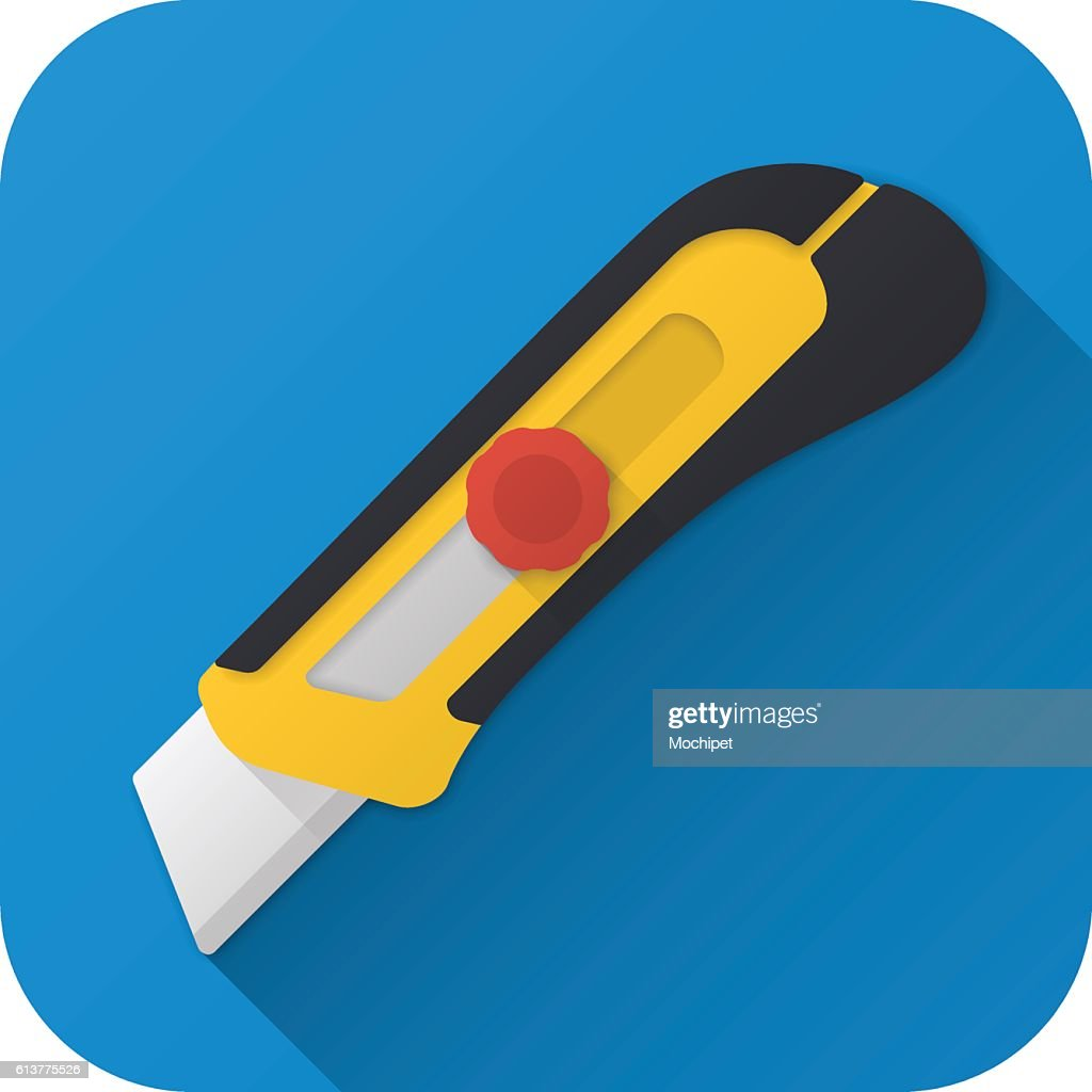 Flat icon of toy construction utility knife