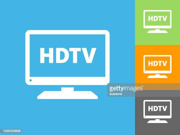 HD TV Flat Icon on Blue Background