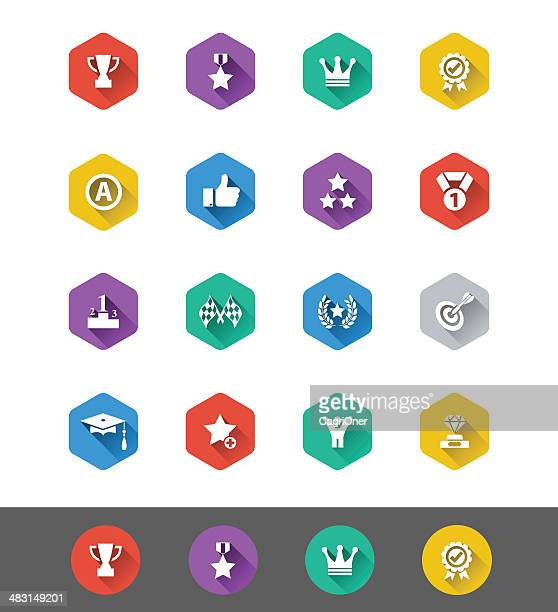 flat icon series: achievement and awards icons - number 1 stock illustrations, clip art, cartoons, & icons