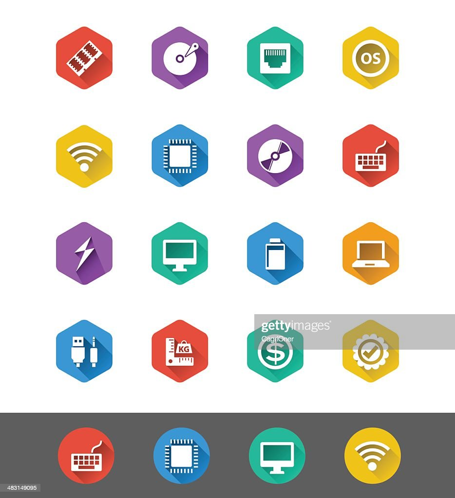 Flat Icon Series: Computer Specs Icons