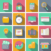 Flat icon set for websites and mobile applications with long shadow. Vector illustration
