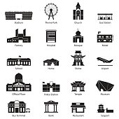 Flat icon set of black and white city building.
