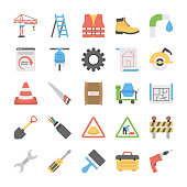 Flat Icon Set of Under Construction