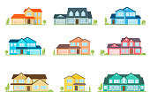 Flat icon suburban american house. For web design and application interface, also useful for infographics. Family house icon isolated on white background. Home facade with color roof