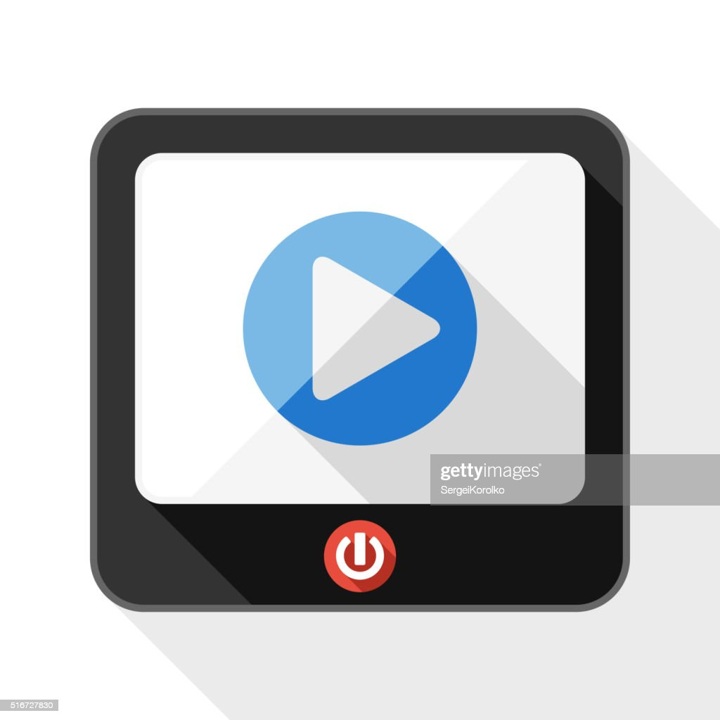 TV flat icon with play button