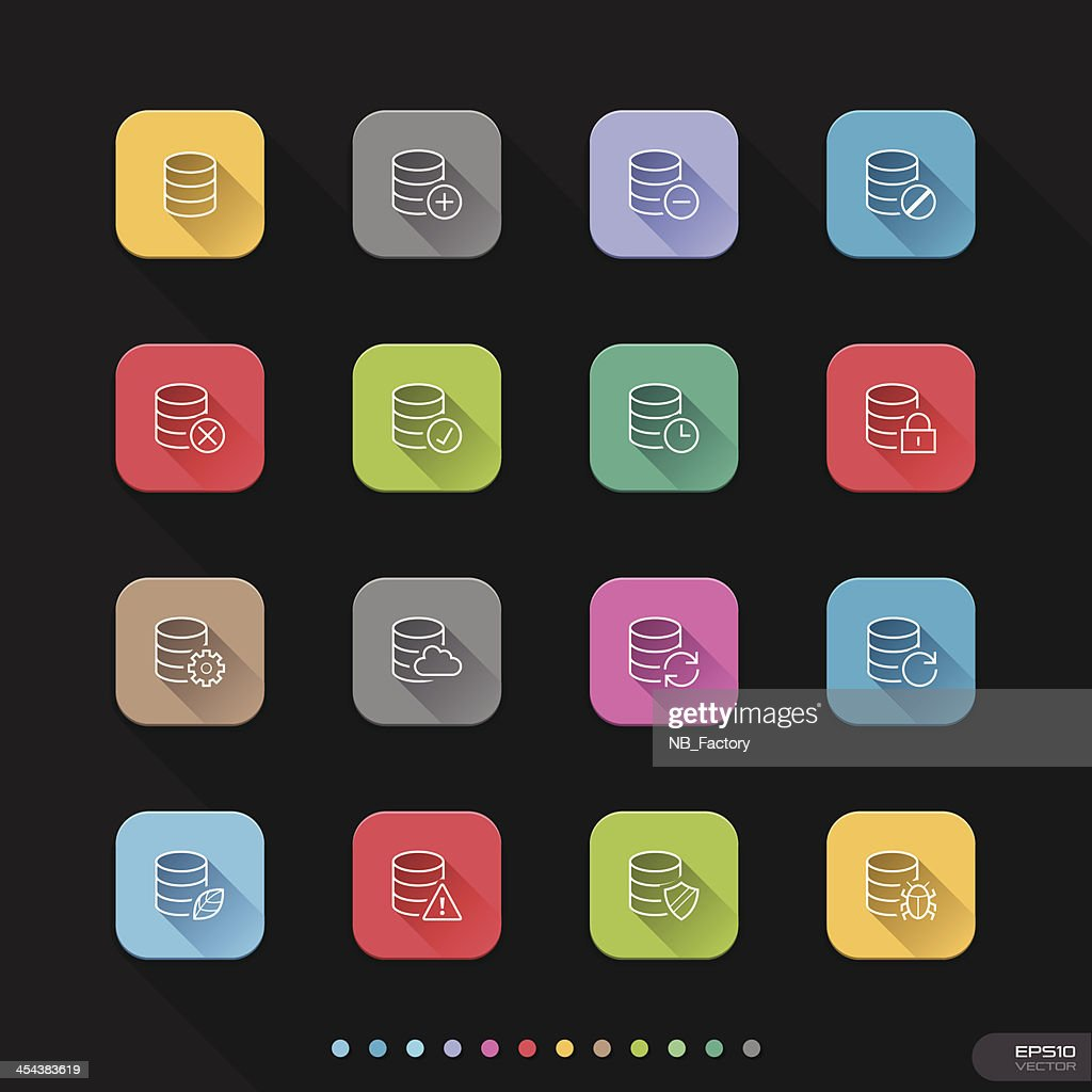 Flat icon with shadow for web & mobile sets #15 Database